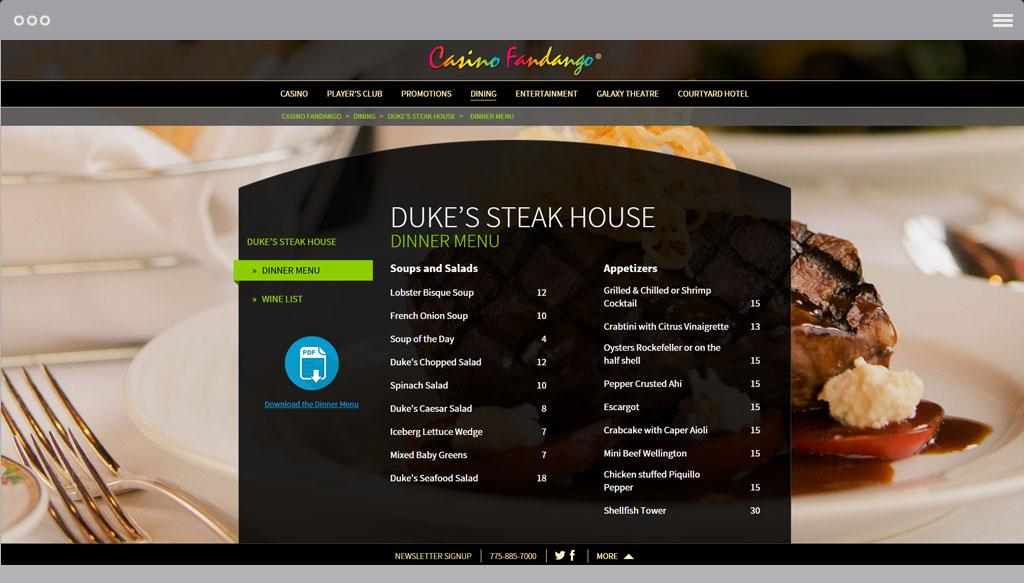 Casino Fandango Restaurants Page