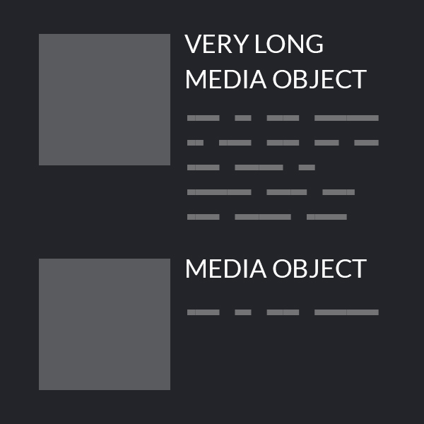 Design reality: media objects of varying lengths