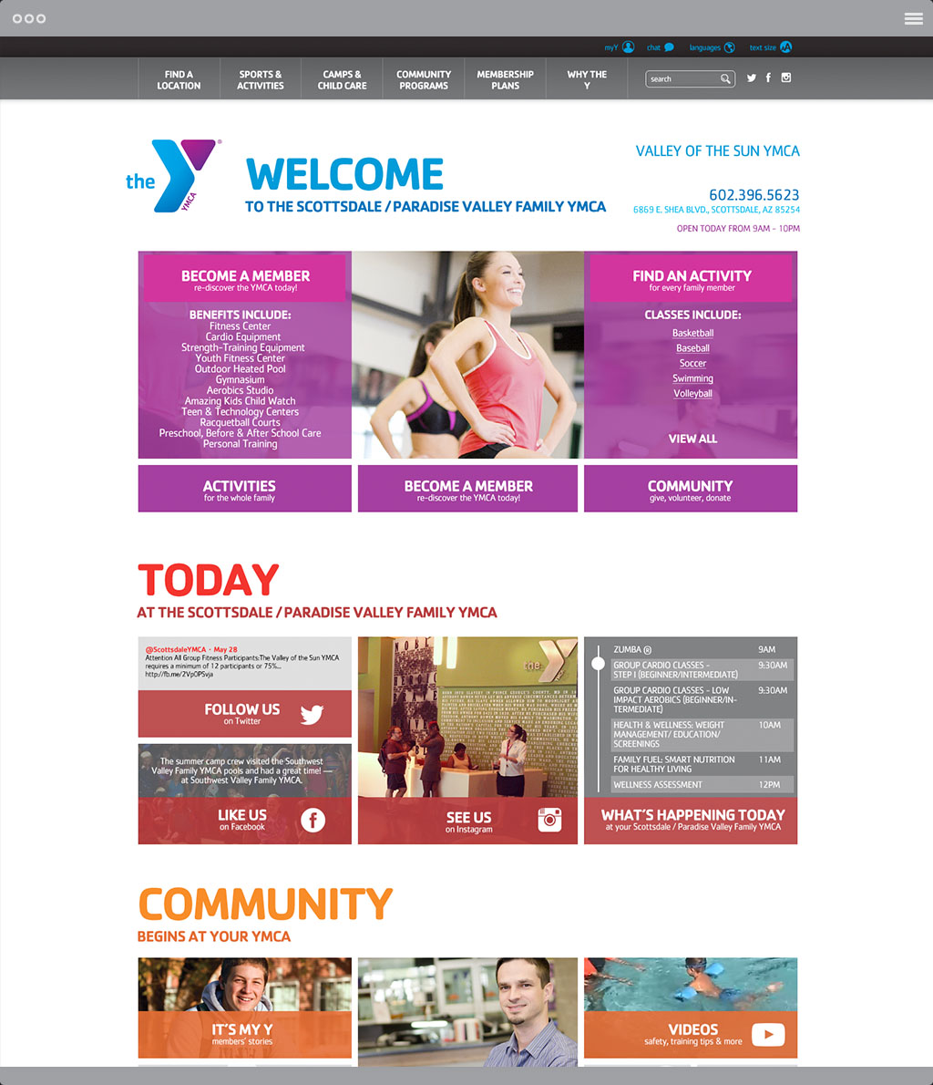 YMCA Branch Page