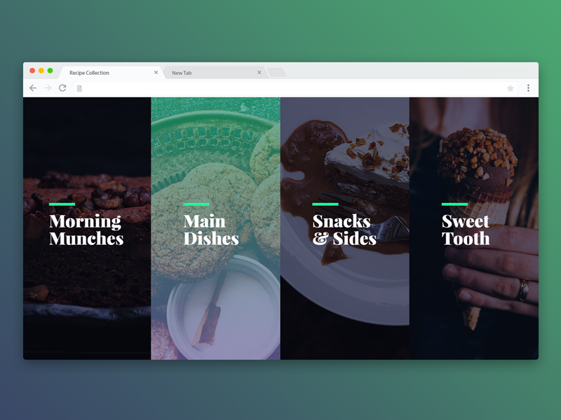A navigation concept I designed and prototyped for a recipe collection site. The gradient effect on the second link shows the hover/focus state which transitions upwards when activated.